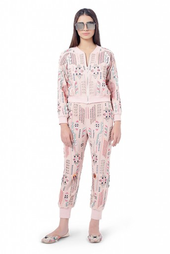 PS-FW764  Mirah Rose Pink Colour Georgette Embroidered Bomber Jacket with Jogger Pants