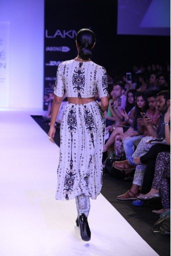 PS-FW239 Monique Pale Blue Printed Crepe crop top with Lehenga and Churidar
