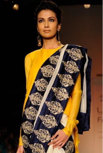 PS-FW185 Naaz Cream Silkmul Saree with Sunset Yellow High-Low Kurta