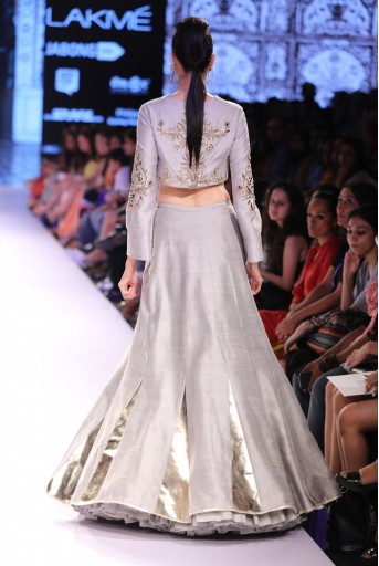 PS-FW324 Nafeesa Grey Dupion Silk Crop Top with Panelled Lehenga