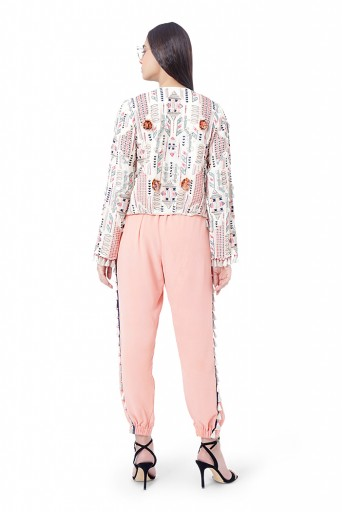 PS-FW765  Nafisa Chalk White Colour Georgette Embroidered Jacket with Coral Colour Georgette Bustier and Jogger Pant
