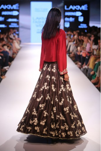 PS-FW370 Nagmeh Marsala Red Silk Kuta with Gunmetal Grey Silk Lehenga