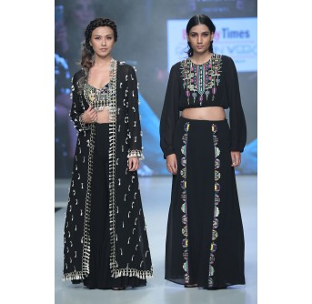 PS-TS0002-1  Naheed Black Georgette Top with Skirt