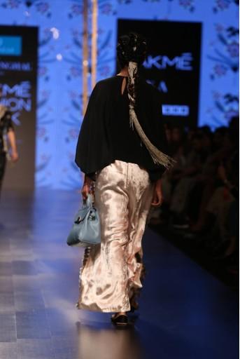 PS-FW571 Nahid Black Crepe Kaftan Top with Stone Velvet Palazzo