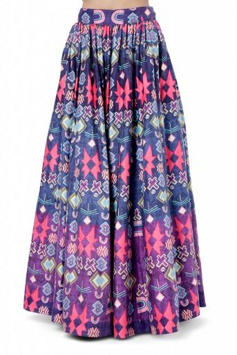 PS-FW766  Najya Purple Colour Dupion Silk Embroidered Choli with Printed Lehenga and Dot Mukaish Net Dupatta