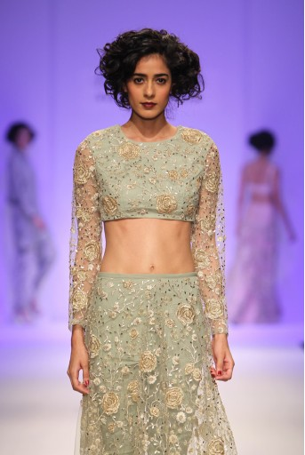 PS-FW341 Nanette Pale Green Tulle Crop Top with Churidar Skirt