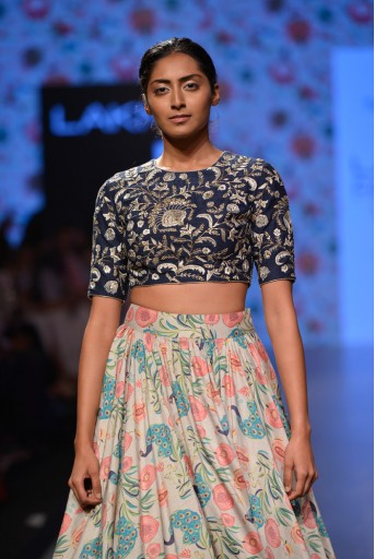 PS-FW376 Nargis Navy Dupion Silk Choli with Printed Dupion Silk Skirt