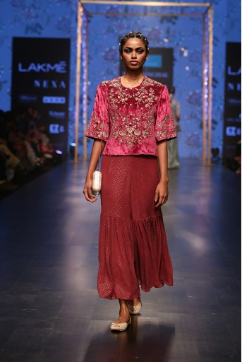 PS-FW554 Nargiza Cranberry Velvet Short Kurta with Mukaish Georgette Cropped Sharara