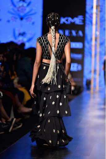 PS-FW574 Nasiba Black Velvet Choli with Georgette Layered Sharara