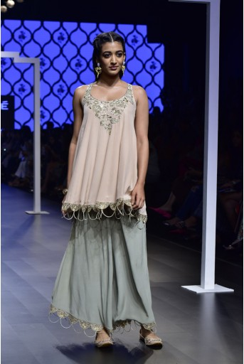 PS-FW493 Nasim Blush Crepe Short Kalidar Kurta with Mint Crepe Palazzo and Chiffon Dupatta