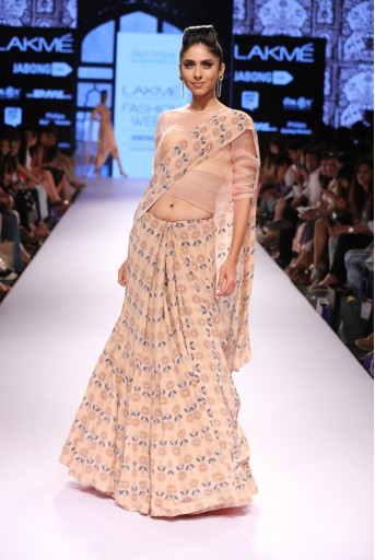 PS-FW305 Nasreen Blush Printed Crepe Lehenga Saree with Printed Dupion Silk Corset and Organza Top