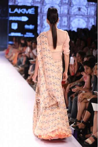PS-FW305 Nasreen Blush Printed Crepe Lehenga Saree with Printed Dupion Silk Corset and Organza Top