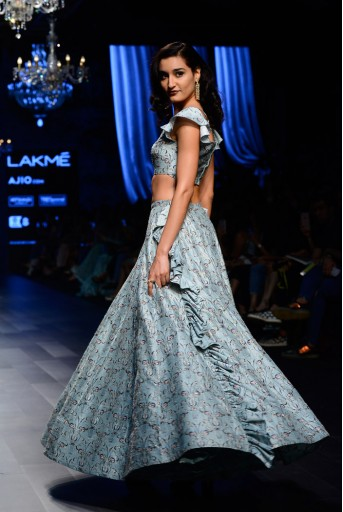 PS-FW442 Natalya Aqua Printed Dupion Silk Off Shoulder Choli with Lehenga