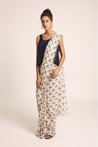 PS-ST1207T Navy Art Crepe Top with Cream Printed Art Georgetet Saree