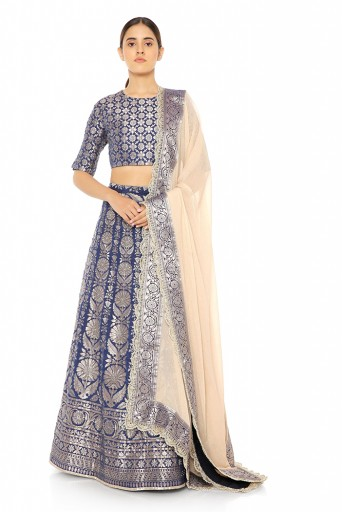 PS-ST1087  Navy Banarasi Choli with Lehenga and Blush Lurex Georgette Dupatta