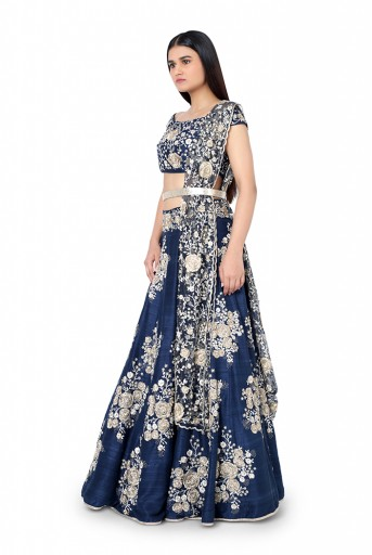 PS-FW347-D-2  Navy Blue Colour Dupion Silk Choli with Lehenga and Net Dupatta with Leather Belt