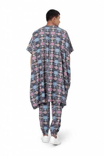 PS-FW802  Navy Colour Cotton Rayon Oversized Kaftaan Top with Jogger Pant
