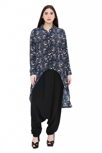 PS-TP0024-C  Navy Colour Printed Crepe Top