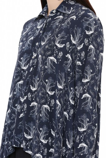 PS-TP0024-C-1  Navy Colour Printed Crepe Top