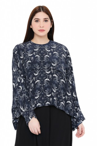PS-TP0027-A-3  Navy Colour Printed Crepe Top
