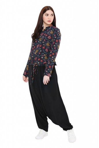 PS-TP0029  Navy Colour Printed Crepe Top