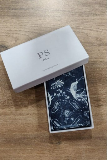 PS-PS128  PS Men Navy colour printed silkmul pocket square
