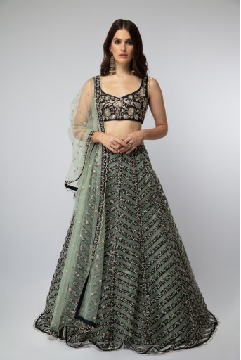 PS-ST1191 Navy Embroidered Choli with Stripped Lehenga and Dupatta