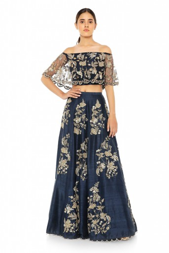 PS-ST0972-H-1  Navy Net Off Shoulder Ruffle Top with Navy Dupion Silk Lehenga