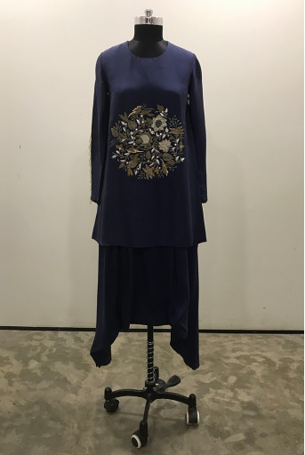 PS-ST0990-C-2 Navy Sllk Kurta and Low Crotch Pant