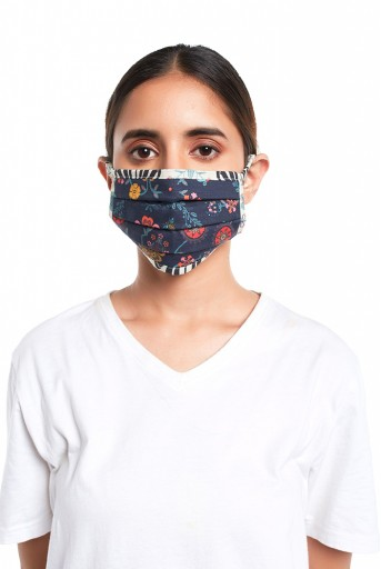 PS-MS0070  Navy Spring and Tulip Garden Print Pleated 3 Ply Mask with Pouch