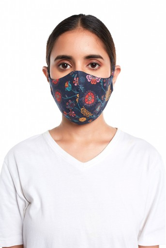 PS-MS0067  Navy Spring Print Structured 3 Ply Mask with Pouch