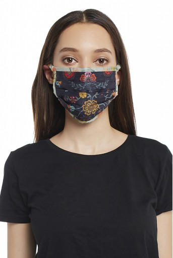 PS-MS0012 Navy Spring Print with Aqua Hand Painted Print Pleated 3 Ply Mask with Pouch