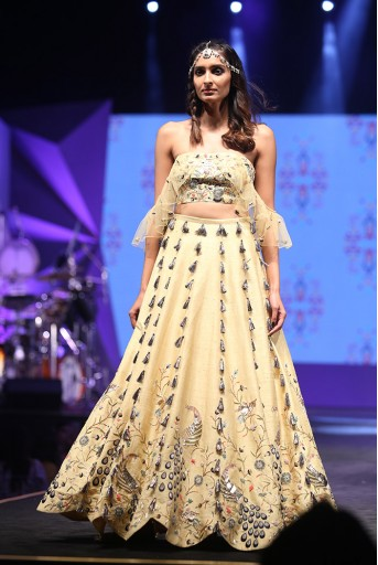 PS-FW605 Nazan Pale Yellow Dupion Silk Bustier with Scallop Lehenga