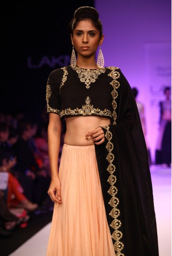 PS-FW212 Nazia Black Silkmul Choli with Blush Silkmul Lehenga and Dupatta