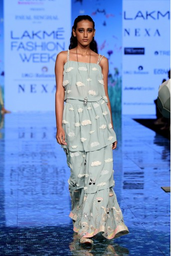 PS-FW727 Nazneen Pale Blue Ruffle Choli with Sharara