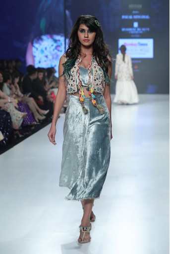 PS-FW683 Nazneen Stone Georgette Short Jacket with Periwinkle Blue Velvet Bustier and Culottes Pant