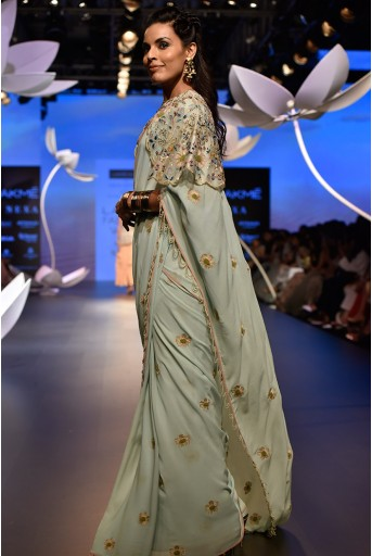 PS-FW537 Nesrin Ice Blue Crepe Bustier with Georgette Saree and Stone Organza Cape