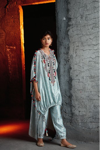 PS-FW708 Nida Pale Blue Banarsi Silkmul Kaftaan and Jogger Pant