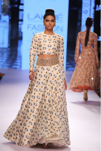 PS-FW309 Niloufer Ivory Printed Dupion Silk Crop Top with Lehenga