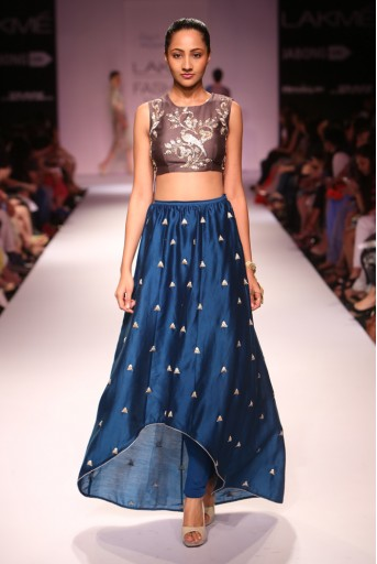 PS-FW278 Nina Gunmetal Grey Silkmul Choli with Teal Silkmul Raised Hem Churidar Skirt