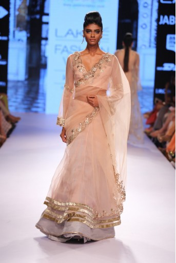 PS-FW319 Nisa Blush Tulle Lehenga Saree with Choli