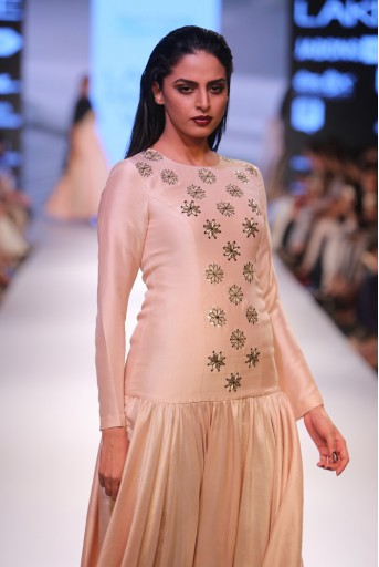 PS-FW356 Nitara Blush Silk Kurta with Black Soft Net Churidar