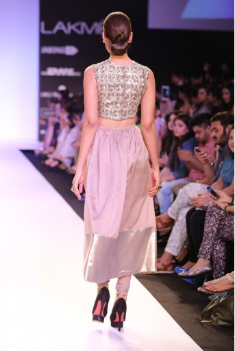 PS-FW237 Noelle Embroidered Choli with Mocha Silkmul Skirt with Soft Net Churidar