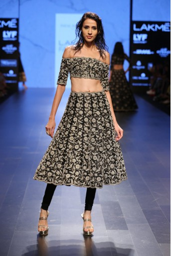 PS-FW415 Nusrat Black Dupion Silk Choli and Skirt with soft Net Churidar