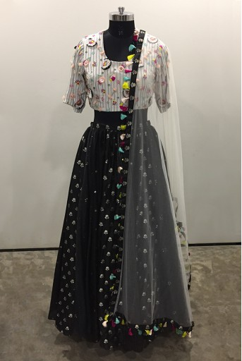 PS-LH0026-A-1  Off White Colour Georgette Choli with Black Colour Benarasi Brocade and Mukaish Silkmul Multi Panelled Lehenga with Net Dupatta