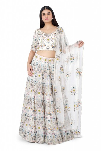 PS-ST1387-1  Off White Colour Organza Choli with Lehenga and Dupatta
