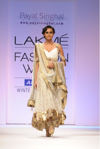PS-FW102 Off White Mukaish Kurta with Brocade Pants and Net Dupatta