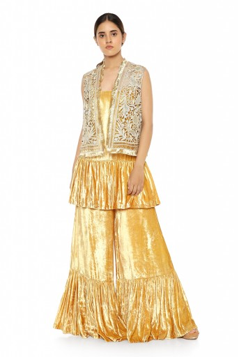 PS-FW563-C  Off White Organza Jacket with Yellow Velvet Kurta and Sharara