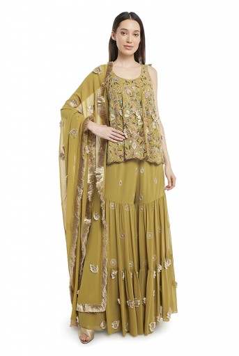 PS-FW568-F  Olive Green Colour Georgette Short Anarkali Kurta with Sharara and Dupatta