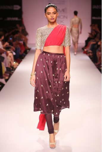 PS-FW280 Padma Gunmetal Grey Silkmul Choli with Cranberry Crepe attached Dupatta and Aubergine Silkmul Churidar Skirt